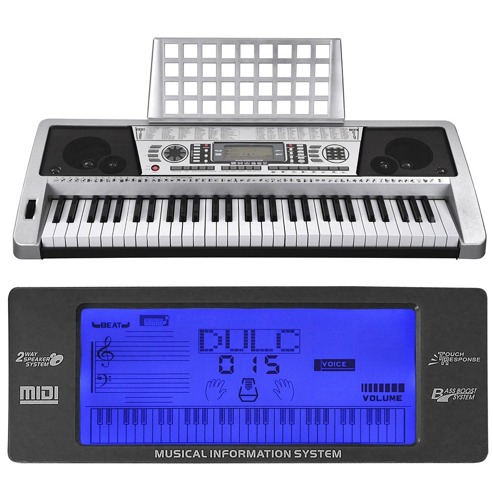 silver 61 key lcd display electronic keyboard digital electric piano music ebay. Black Bedroom Furniture Sets. Home Design Ideas