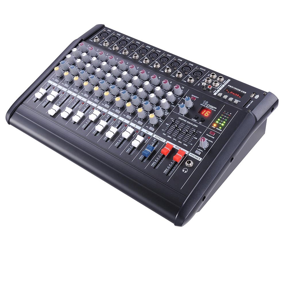 DJ-Studio-Power-Mixer-Amplifier-16DSP-LCD-Recording-USB-Slot-4-6-8-10-Channel miniature 4