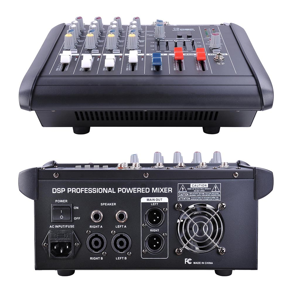 4 channel professional powered mixer power mixing amplifier w usb slot amp 16dsp 657258007482 ebay. Black Bedroom Furniture Sets. Home Design Ideas