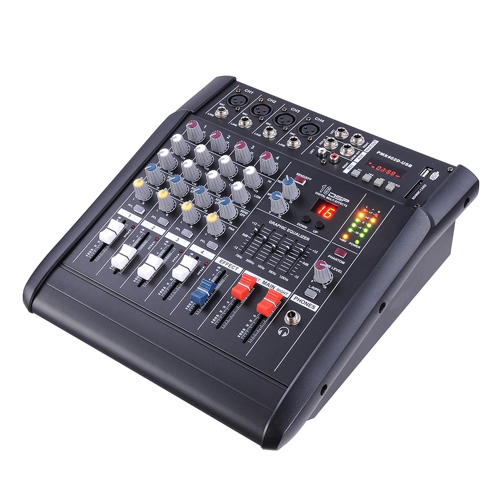DJ-Studio-Power-Mixer-Amplifier-16DSP-LCD-Recording-USB-Slot-4-6-8-10-Channel miniature 14