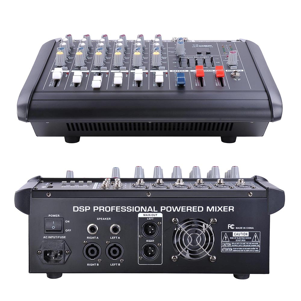 DJ-Studio-Power-Mixer-Amplifier-16DSP-LCD-Recording-USB-Slot-4-6-8-10-Channel miniature 18