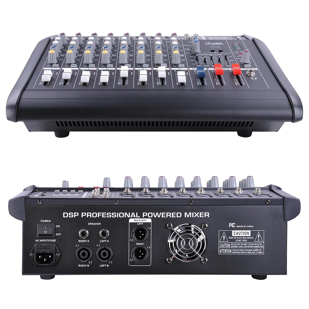 DJ-Studio-Power-Mixer-Amplifier-16DSP-LCD-Recording-USB-Slot-4-6-8-10-Channel miniature 24