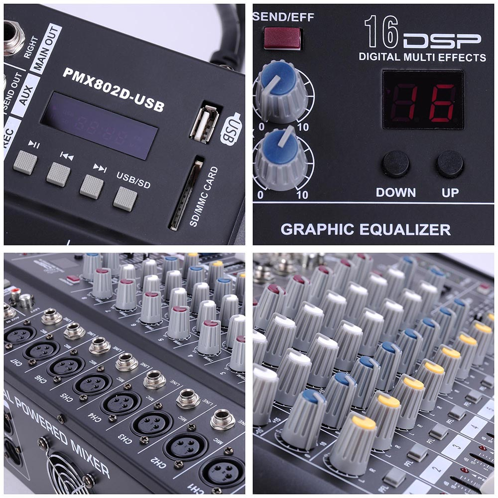 DJ-Studio-Power-Mixer-Amplifier-16DSP-LCD-Recording-USB-Slot-4-6-8-10-Channel miniature 25