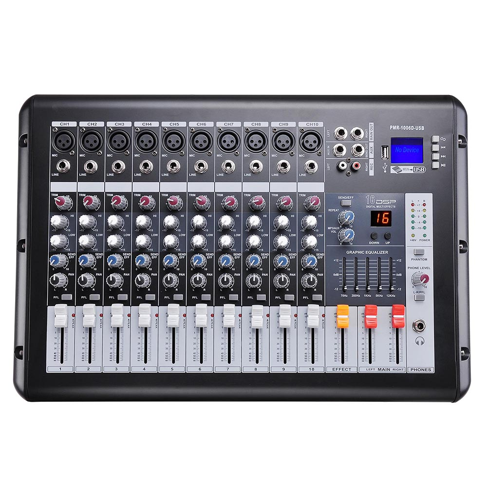 dj studio power mixer amplifier 16dsp lcd recording usb slot 4 6 8 10 channel ebay. Black Bedroom Furniture Sets. Home Design Ideas