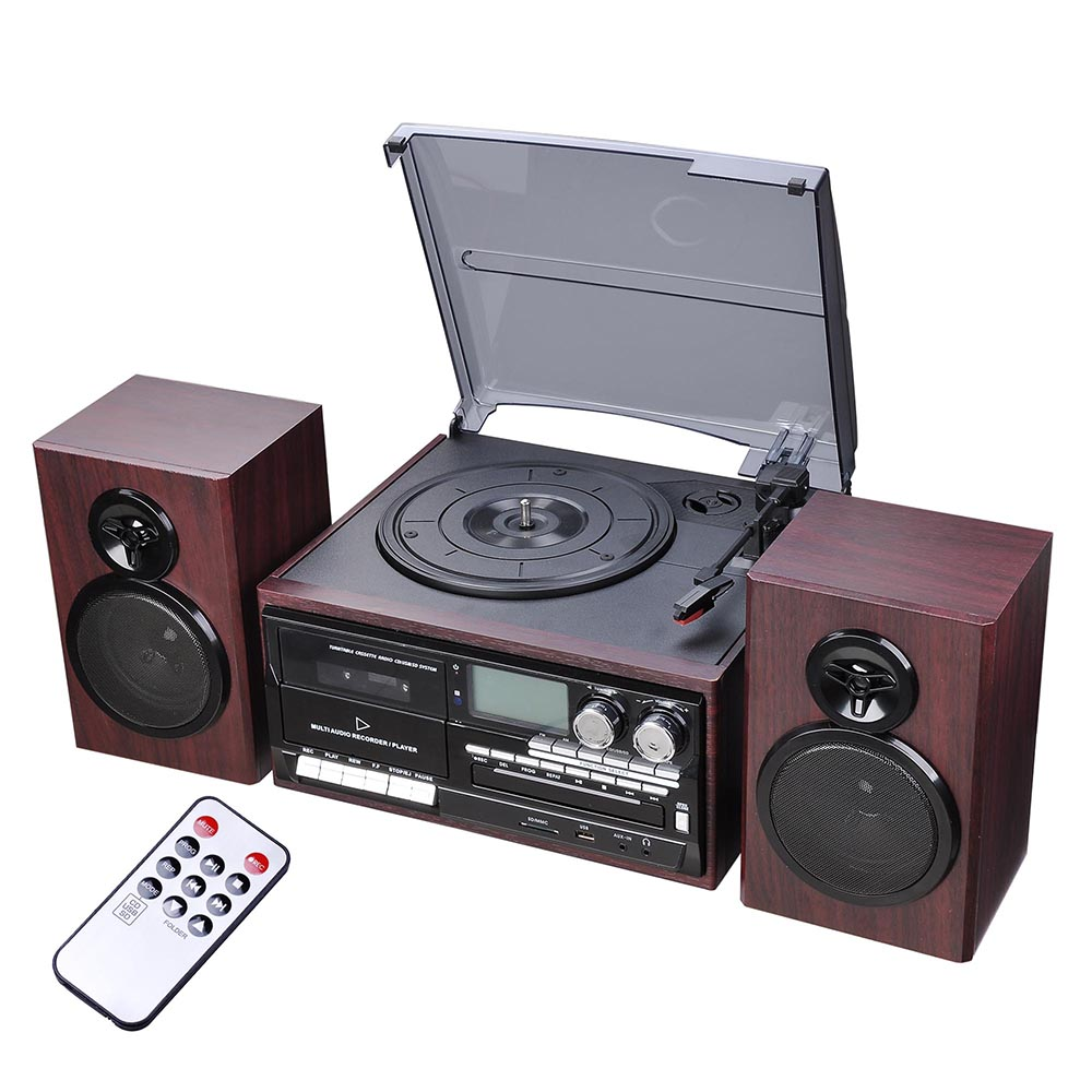 Bluetooth Stereo Record Player System With Speakers Turntable AM/FM CD Cassette