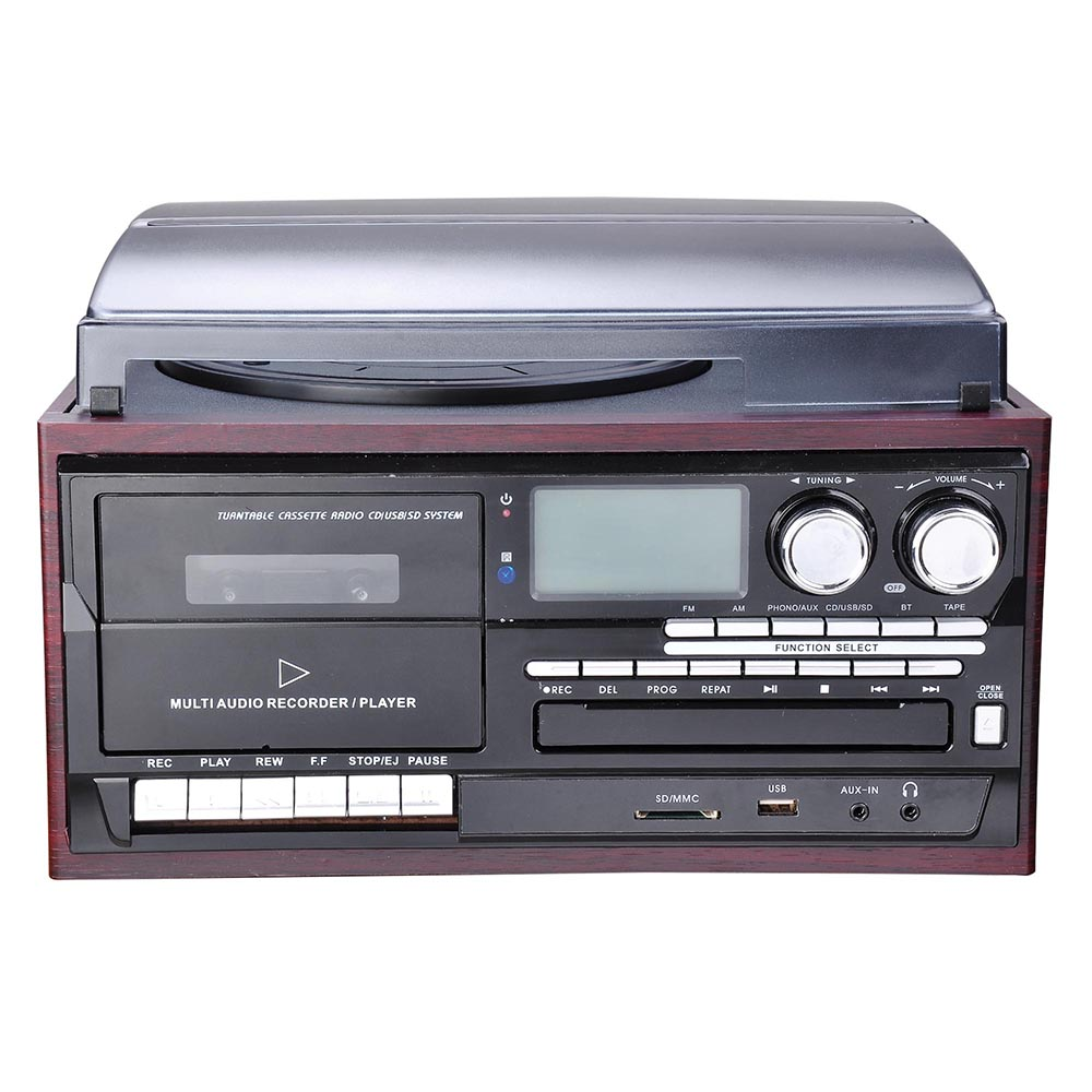 bluetooth stereo record player system with speakers. Black Bedroom Furniture Sets. Home Design Ideas