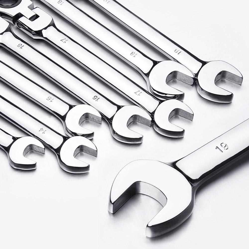 12pc-8-19mm-Metric-Flexible-Head-Ratcheting-Wrench-Combination-Spanner-Tool-Set thumbnail 7