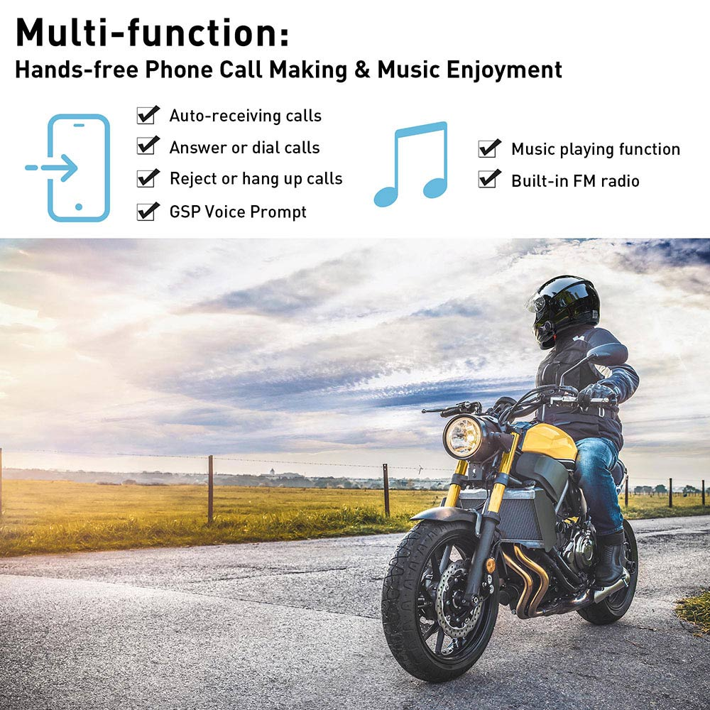 3 Riders 1000m Motorcycle Intercom Bluetooth Headset Helmet Communication System