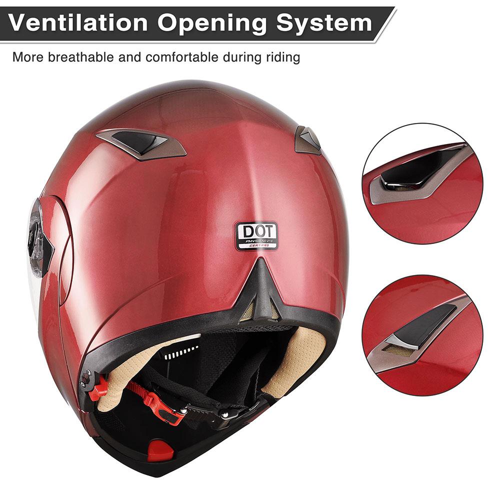 miniature 53 - DOT Flip up Modular Full Face Motorcycle Helmet Dual Visor Motocross Size Opt