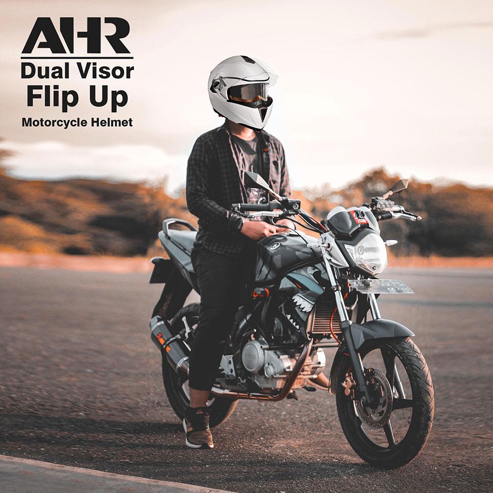 miniature 61 - DOT Flip up Modular Full Face Motorcycle Helmet Dual Visor Motocross Size Opt