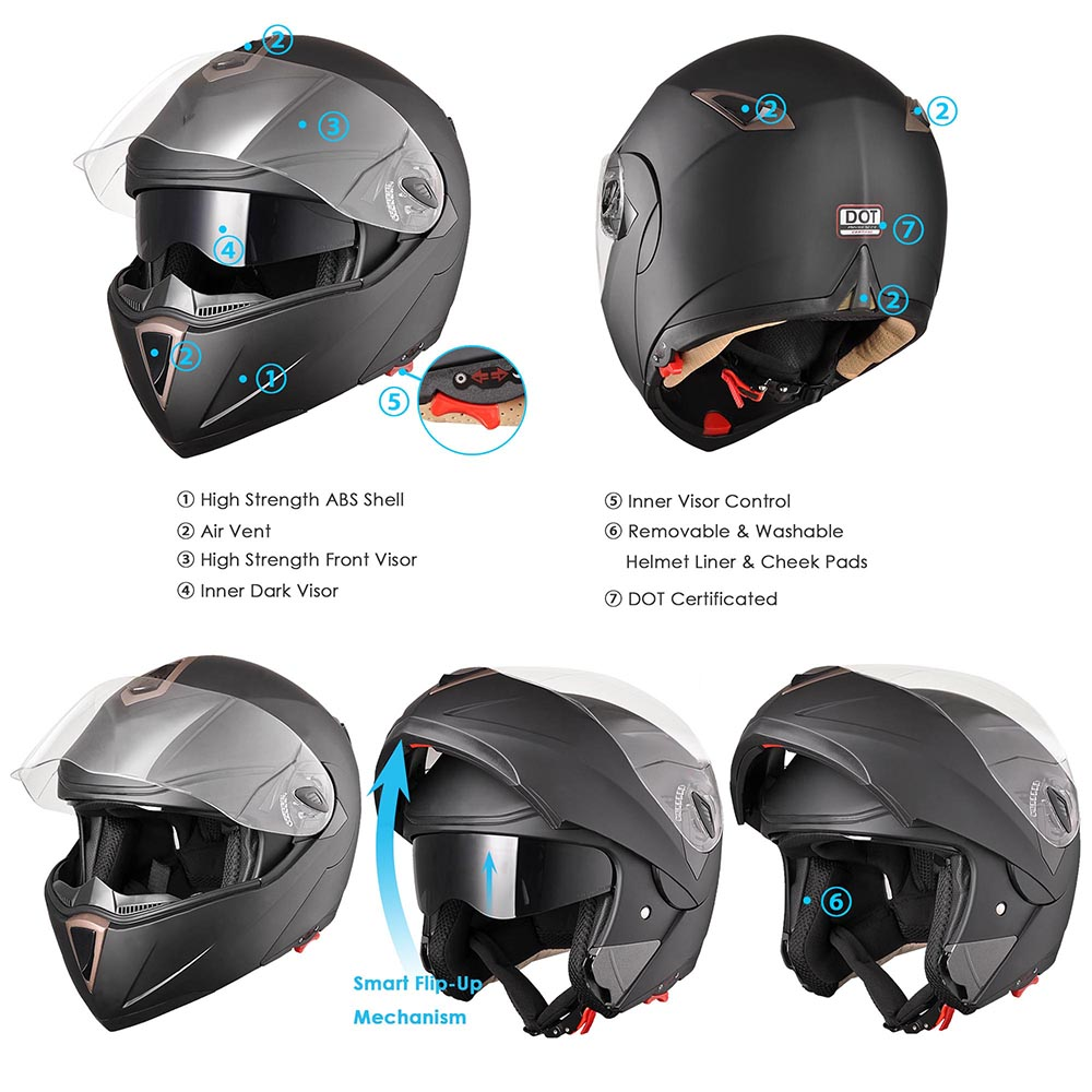 DOT Flip up Modular Full Face Motorcycle Helmet Dual Visor Motocross Size Opt