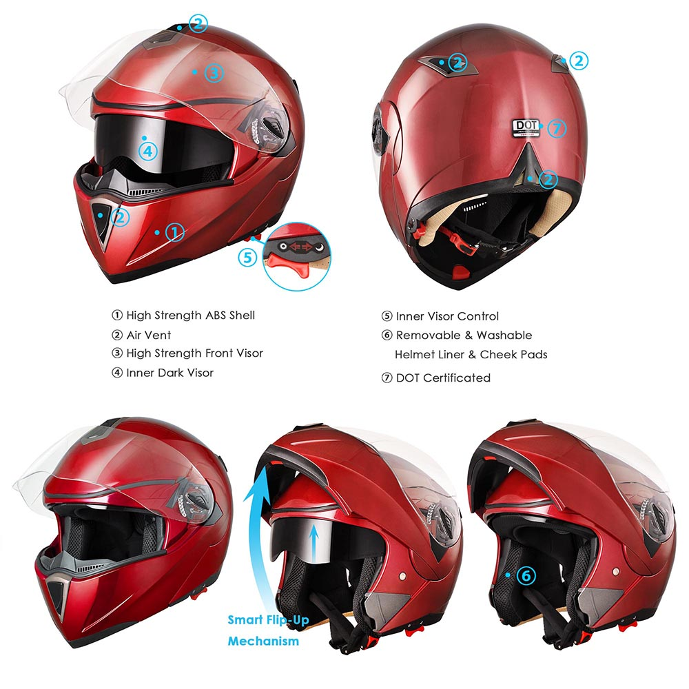 DOT-Flip-up-Modular-Full-Face-Motorcycle-Helmet-Dual-Visor-Motocross-Size-Opt thumbnail 96