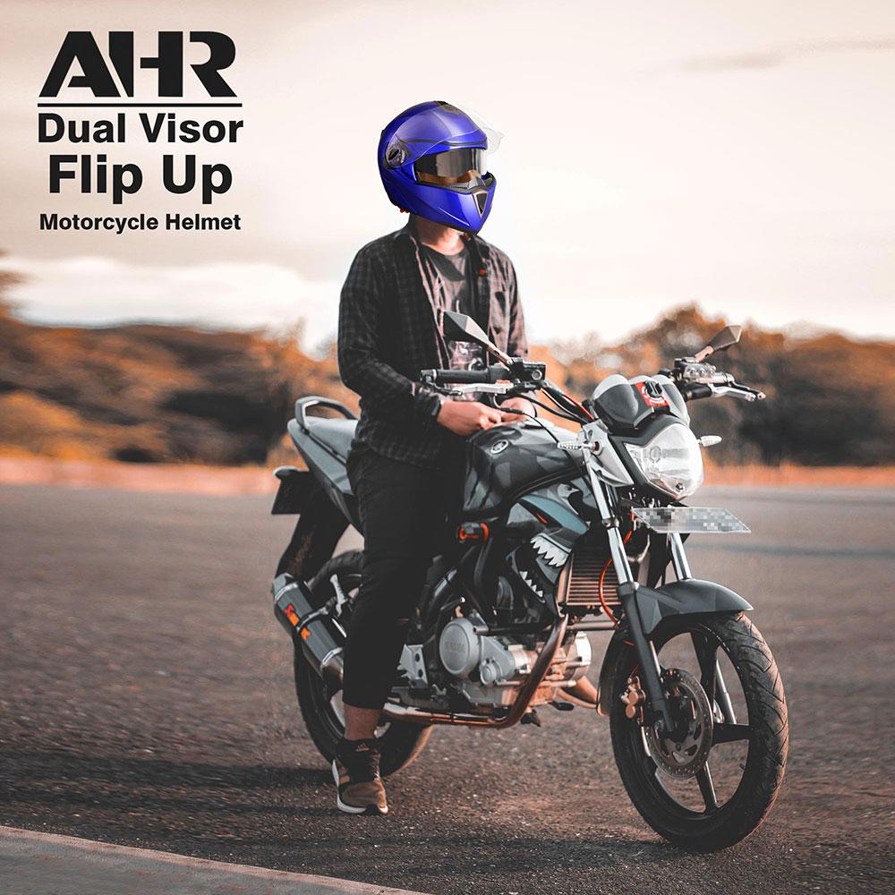 miniature 85 - DOT Flip up Modular Full Face Motorcycle Helmet Dual Visor Motocross Size Opt