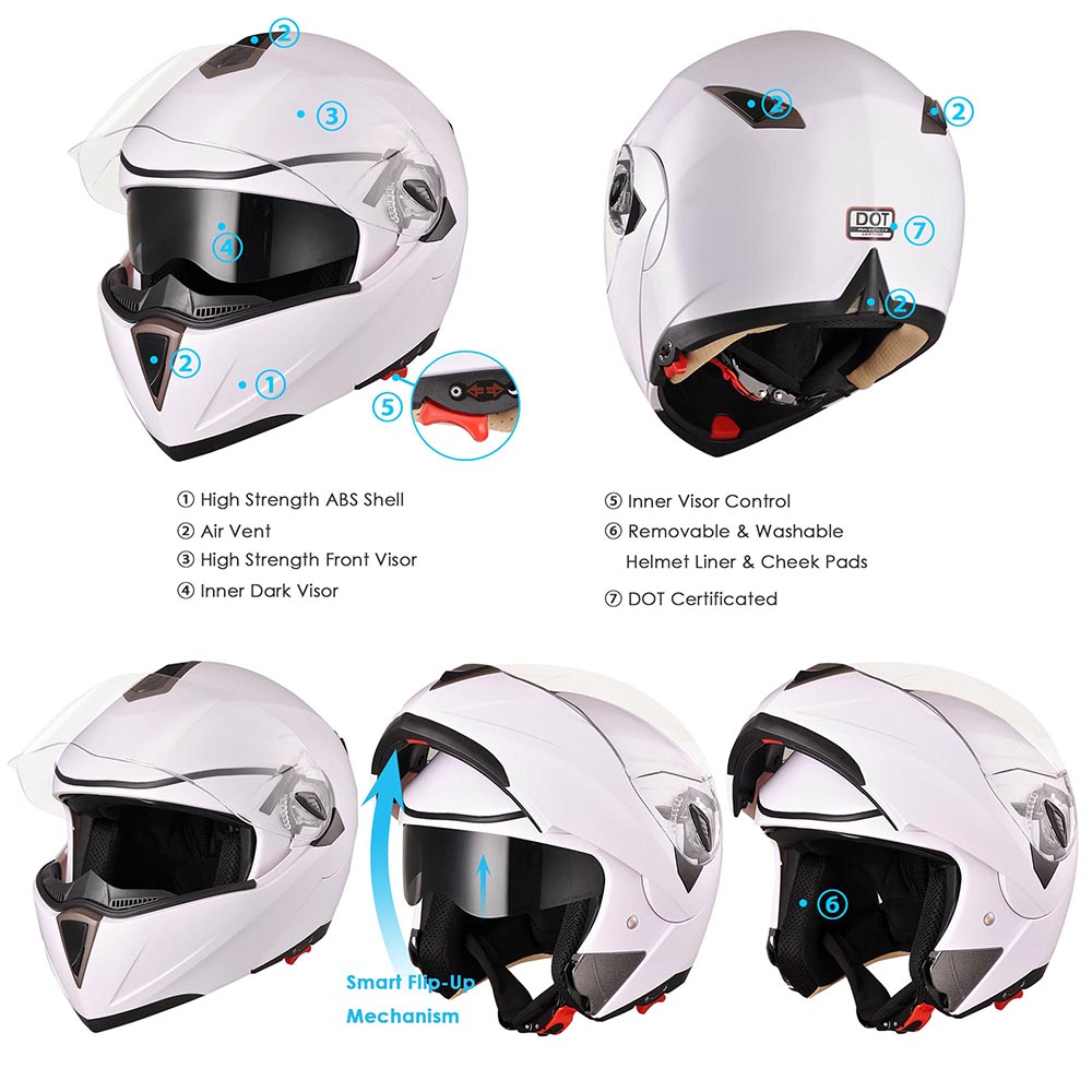 DOT-Flip-up-Modular-Full-Face-Motorcycle-Helmet-Dual-Visor-Motocross-Size-Opt thumbnail 106