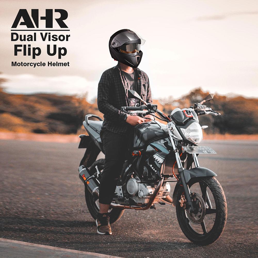 miniature 95 - DOT Flip up Modular Full Face Motorcycle Helmet Dual Visor Motocross Size Opt