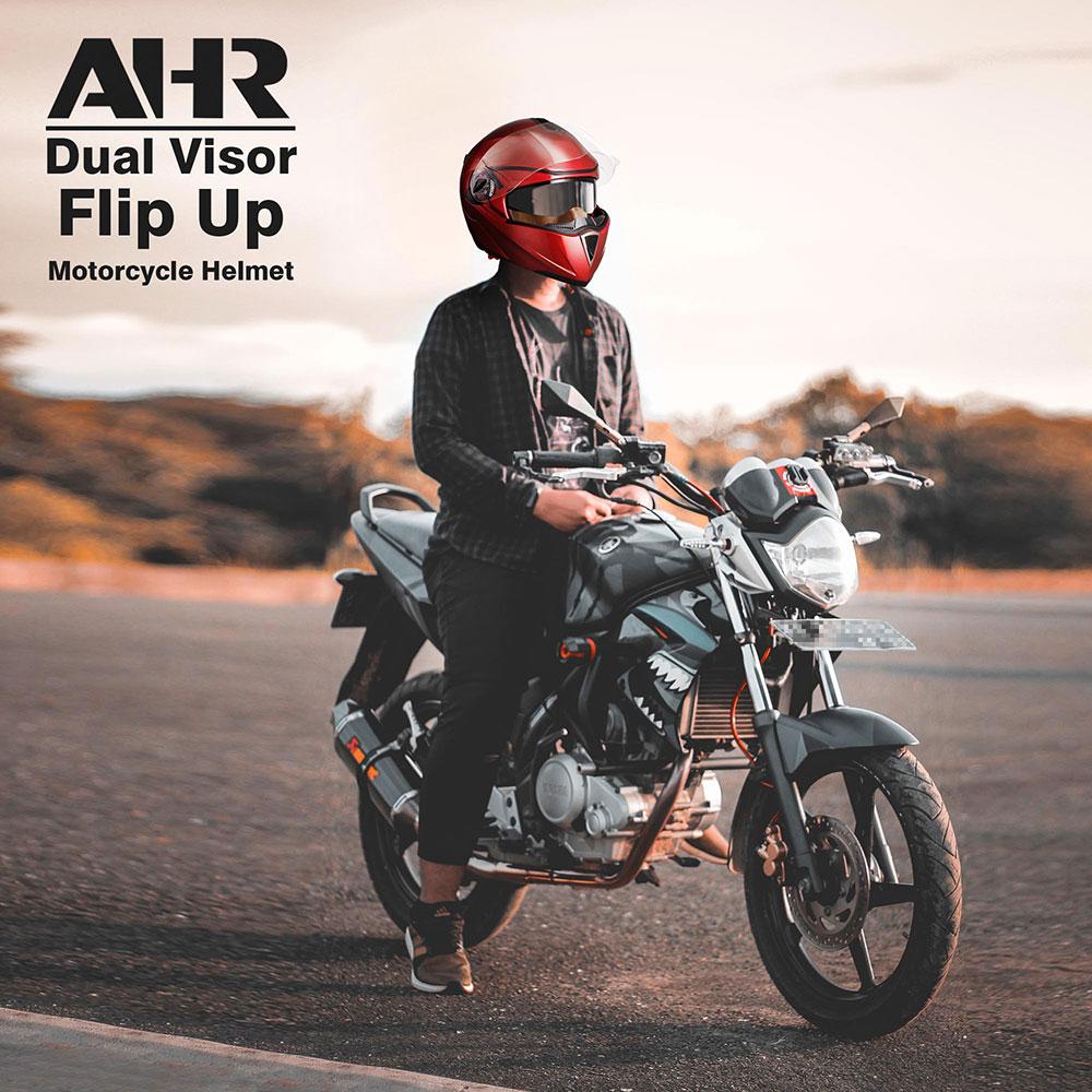 miniature 163 - DOT Flip up Modular Full Face Motorcycle Helmet Dual Visor Motocross Size Opt