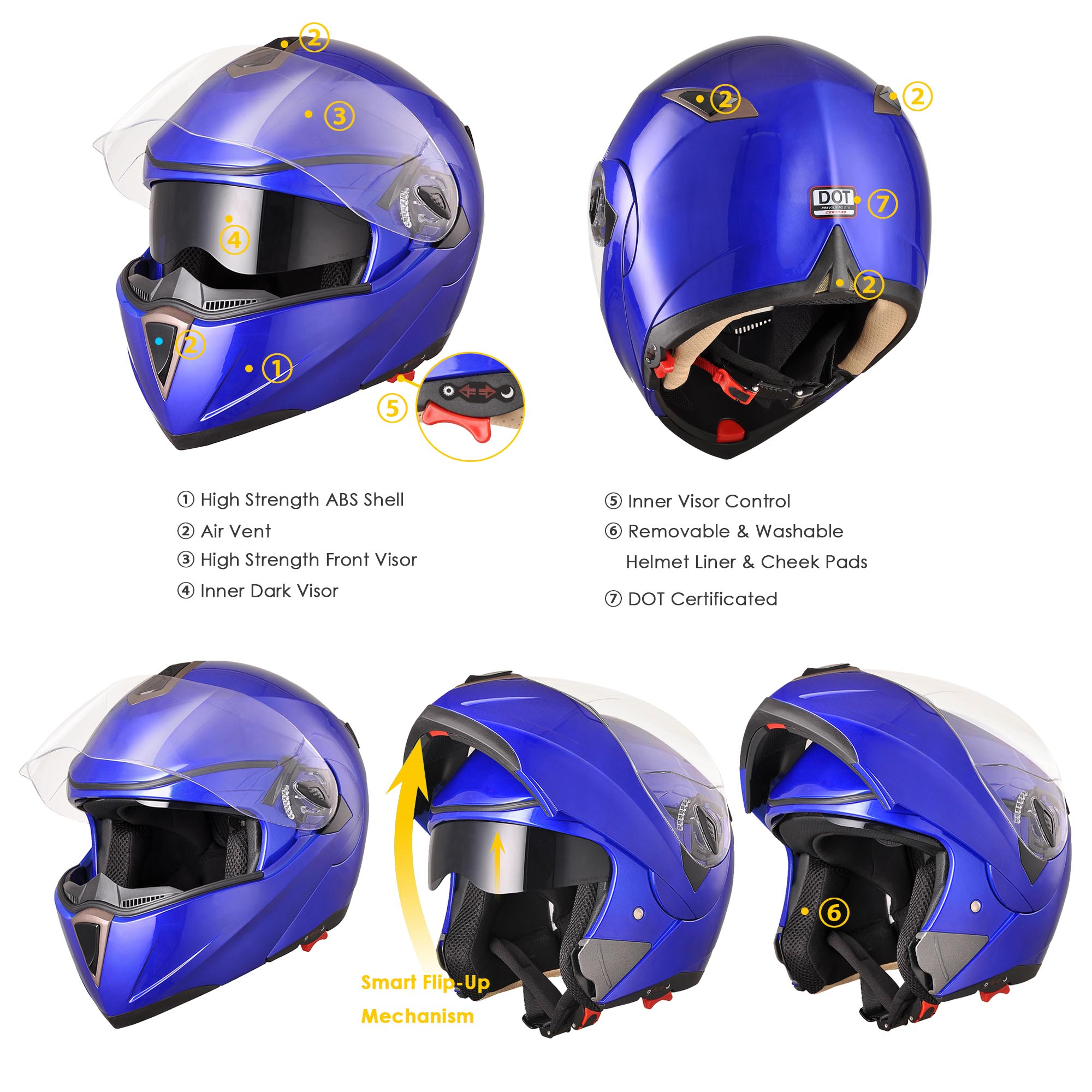 DOT-Flip-up-Modular-Full-Face-Motorcycle-Helmet-Dual-Visor-Motocross-Size-Opt thumbnail 126