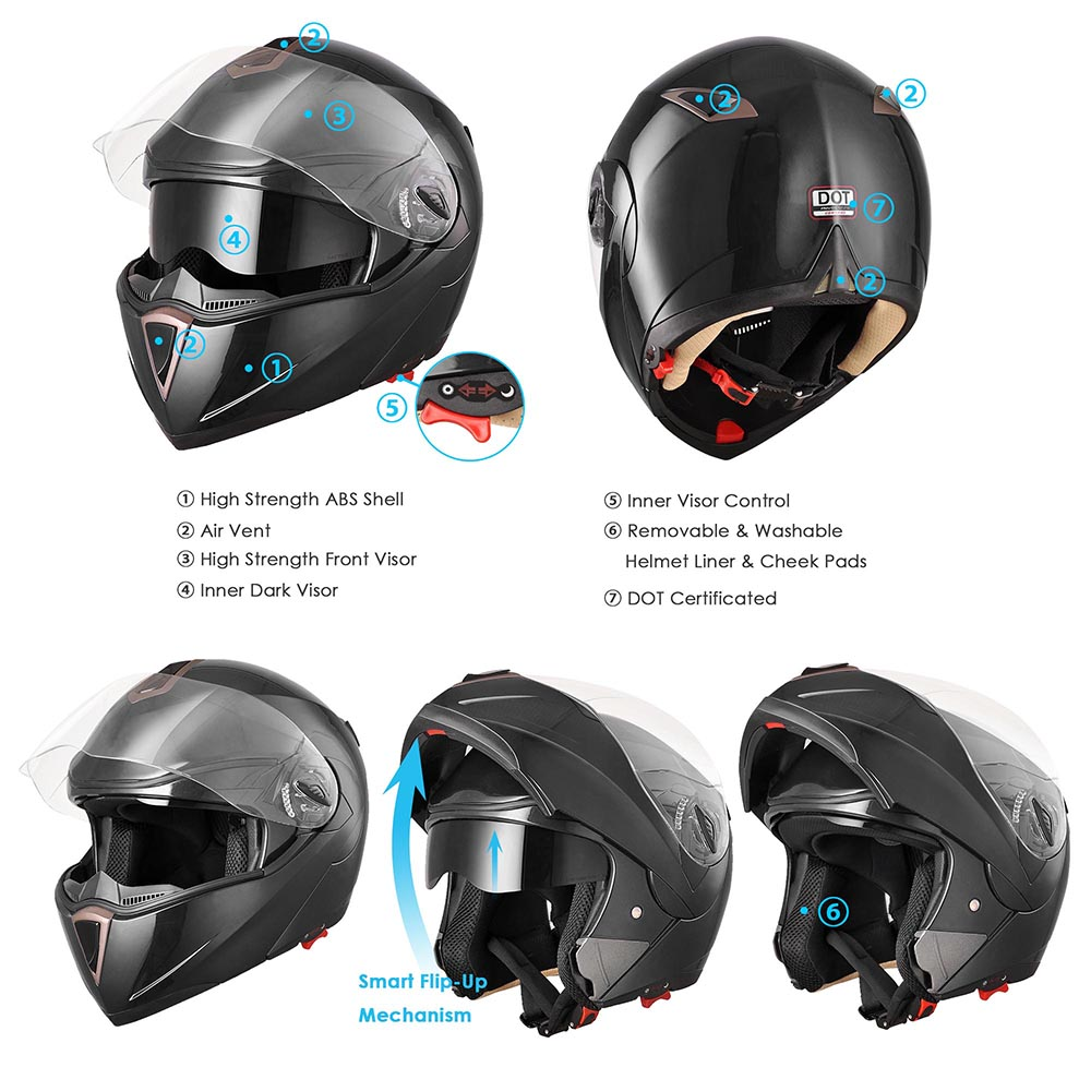 DOT-Flip-up-Modular-Full-Face-Motorcycle-Helmet-Dual-Visor-Motocross-Size-Opt thumbnail 116