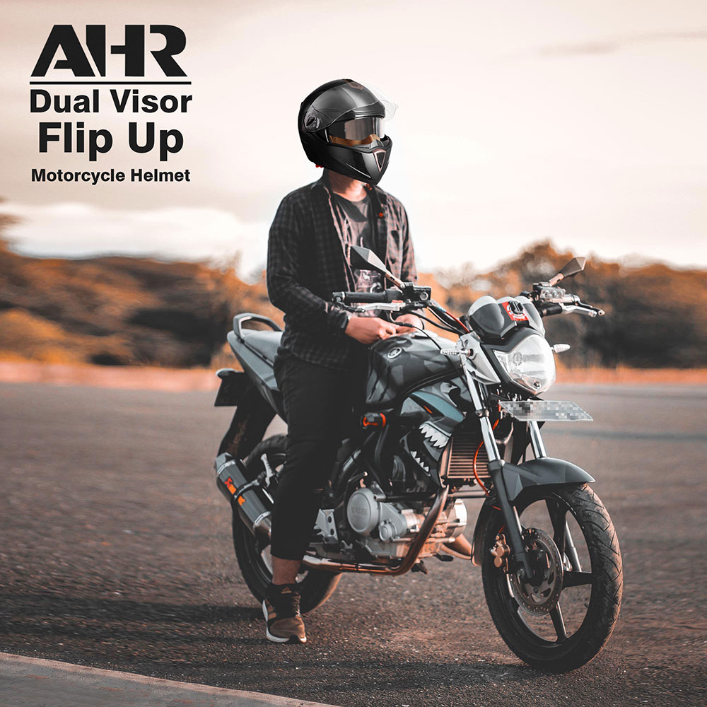 miniature 131 - DOT Flip up Modular Full Face Motorcycle Helmet Dual Visor Motocross Size Opt
