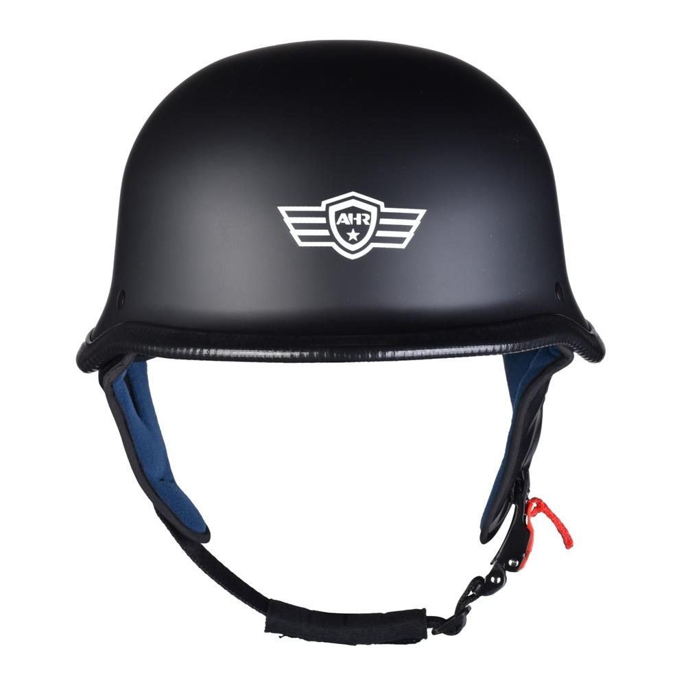 miniature 51 - AHR DOT Motorcycle German Half Face Helmet M Black Chopper Cruiser Biker M/L/XL