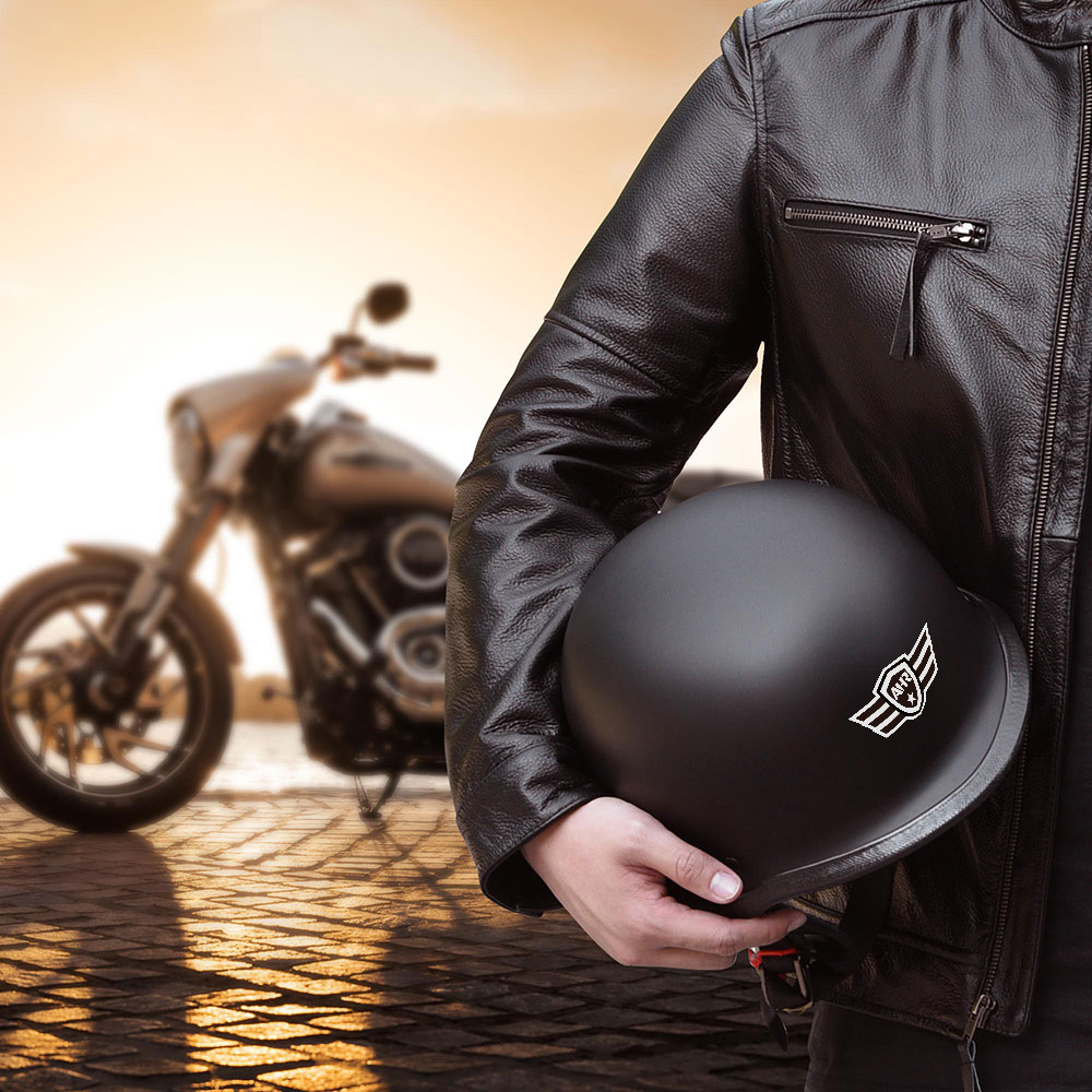 miniature 59 - AHR DOT Motorcycle German Half Face Helmet M Black Chopper Cruiser Biker M/L/XL