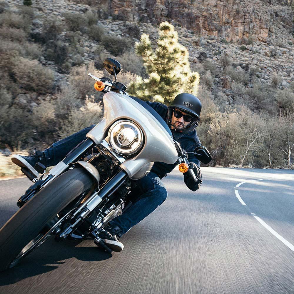 miniature 60 - AHR DOT Motorcycle German Half Face Helmet M Black Chopper Cruiser Biker M/L/XL