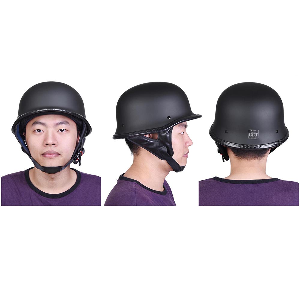 DOT-Motorcycle-German-Half-Face-Helmet-Matte-Black-Chopper-Cruiser-Biker-M-L-XL thumbnail 14
