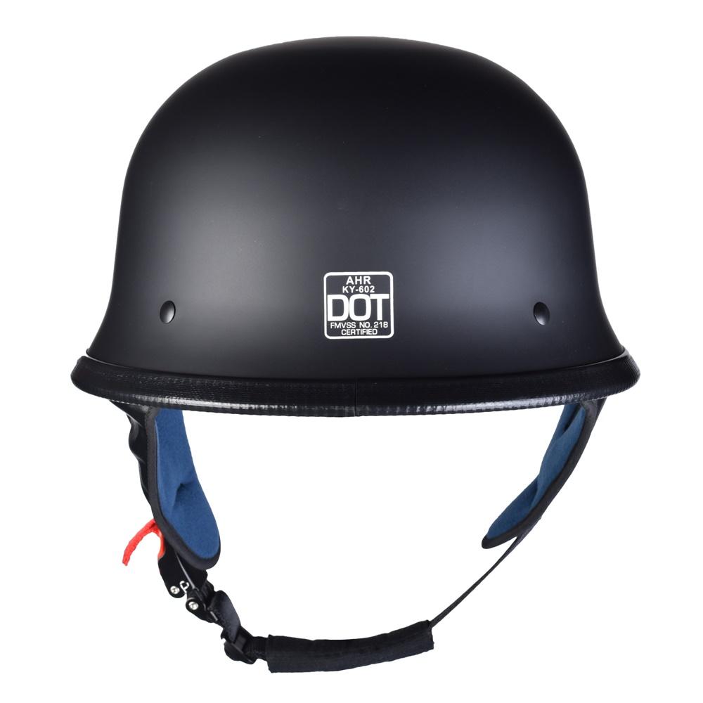 miniature 40 - AHR DOT Motorcycle German Half Face Helmet M Black Chopper Cruiser Biker M/L/XL