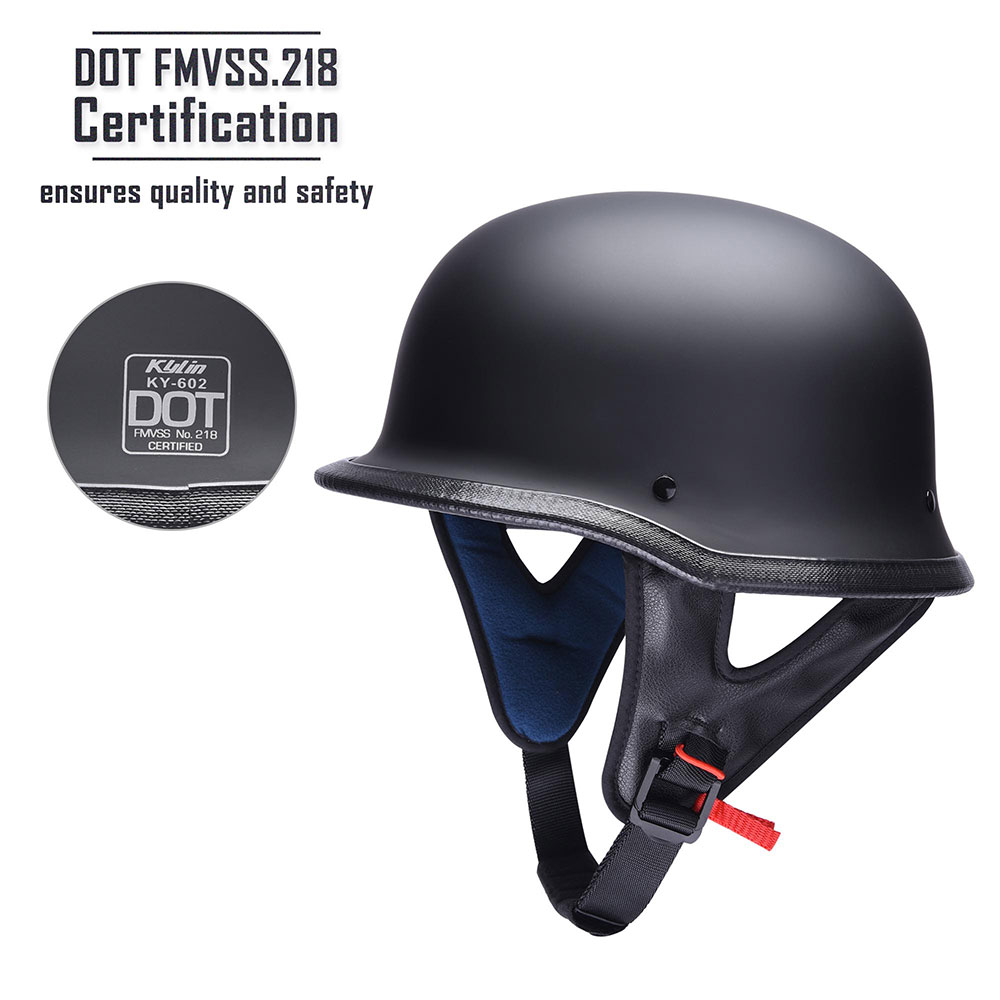 DOT-Motorcycle-German-Half-Face-Helmet-Matte-Black-Chopper-Cruiser-Biker-M-L-XL thumbnail 19
