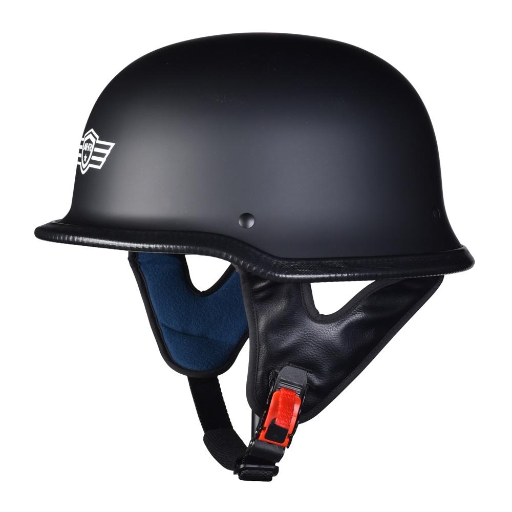 miniature 62 - AHR DOT Motorcycle German Half Face Helmet M Black Chopper Cruiser Biker M/L/XL