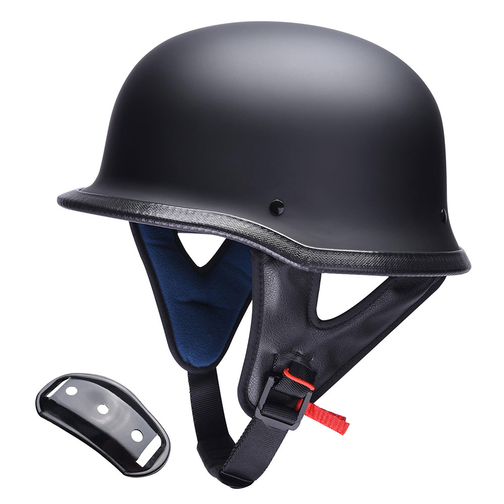 DOT-Motorcycle-German-Half-Face-Helmet-Matte-Black-Chopper-Cruiser-Biker-M-L-XL thumbnail 40