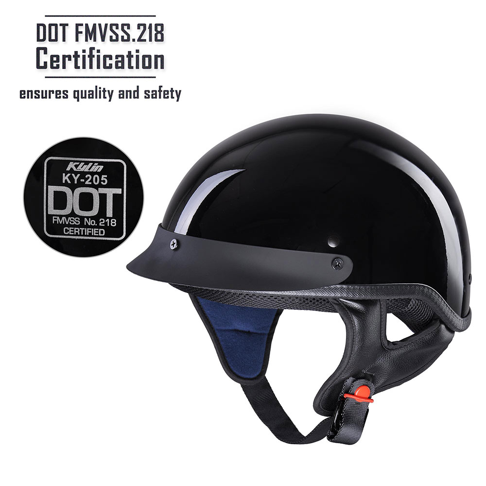 Motorcycle-Half-Helmet-DOT-Open-Face-Chopper-Cruiser-Bike-Skull-Cap-Size-S-XL thumbnail 3