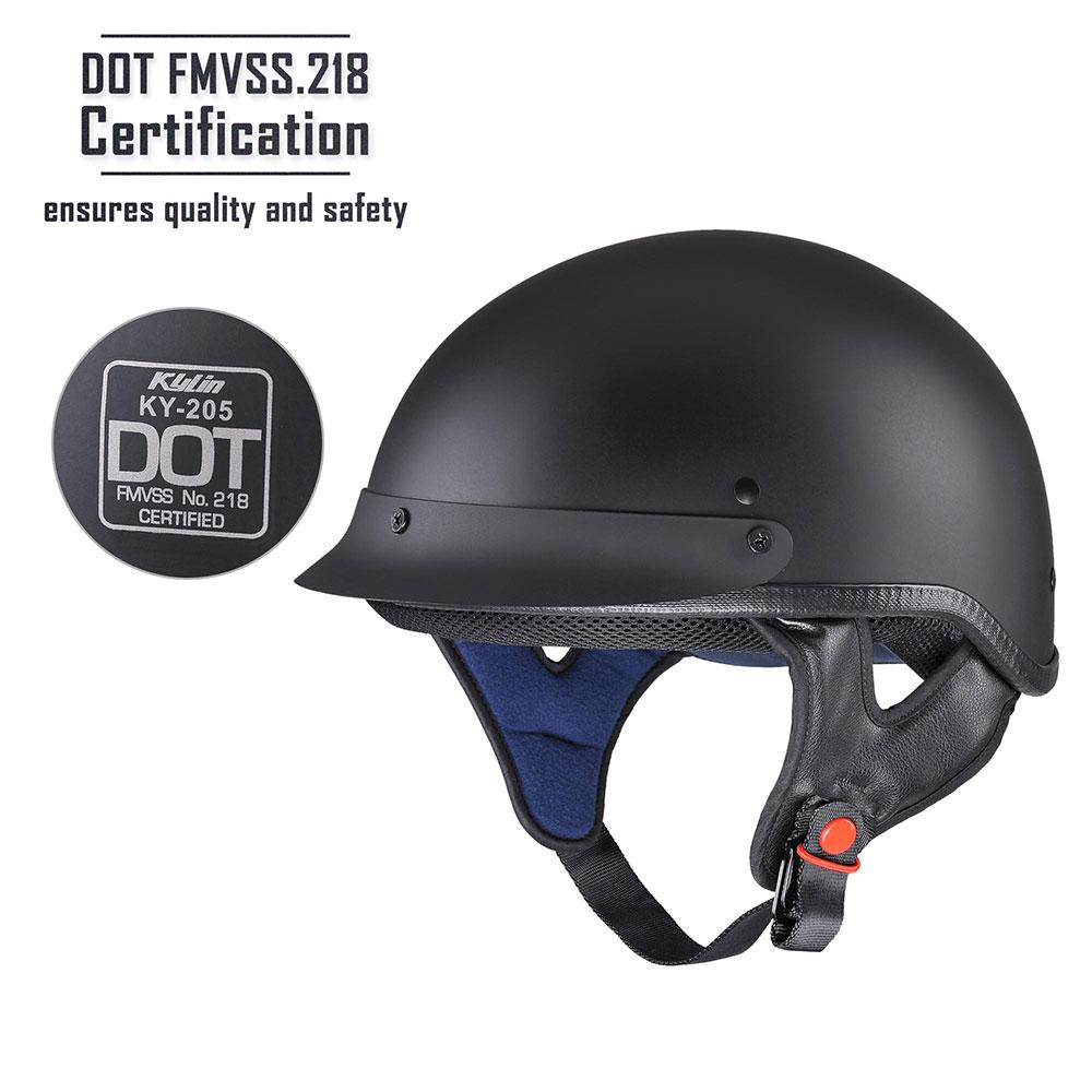 Motorcycle-Half-Helmet-DOT-Open-Face-Chopper-Cruiser-Bike-Skull-Cap-Size-S-XL thumbnail 27