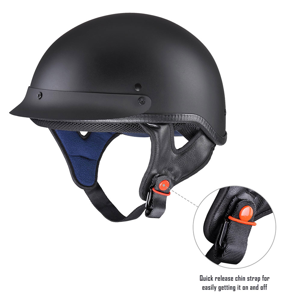 miniature 60 - Motorcycle Half Helmet DOT Open Face Chopper Cruiser Bike Skull Cap Size S-XL