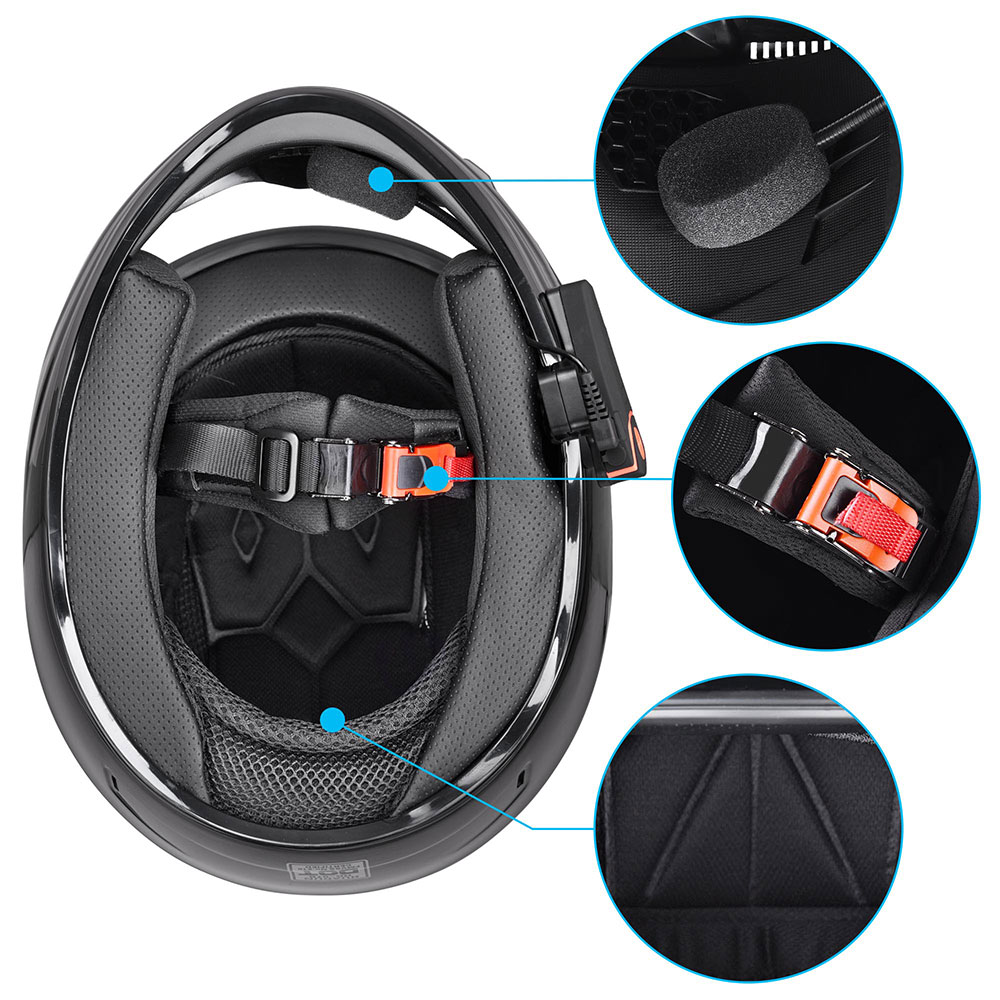 DOT-Motorcycle-Full-Face-Adult-Helmet-Size-M-XL-w-Bluetooth-Wireless-Headset thumbnail 56