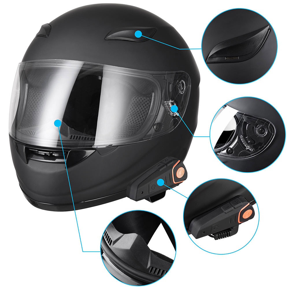 DOT-Motorcycle-Full-Face-Adult-Helmet-Size-M-XL-w-Bluetooth-Wireless-Headset thumbnail 59