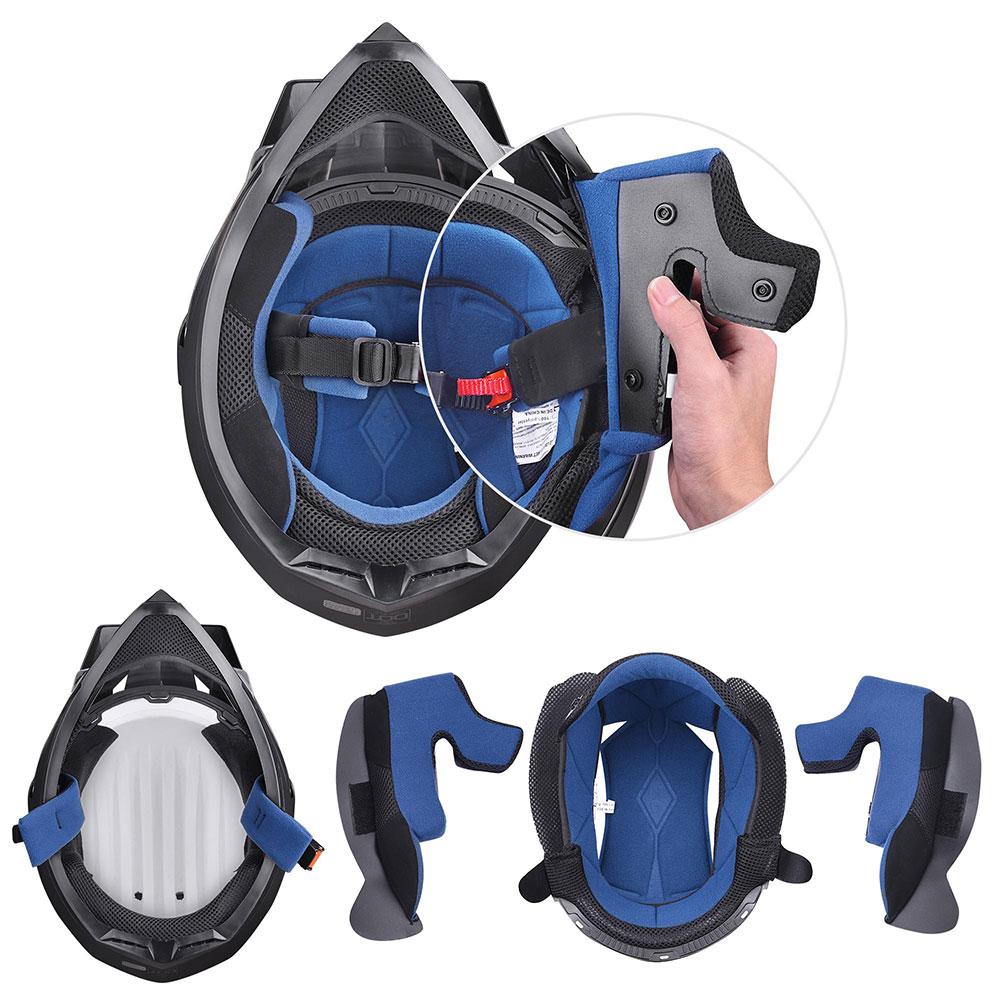 Matte-Black-DOT-Adult-Dual-Visor-Full-Face-Motorcycle-Street-Sport-Helmet-S-XL thumbnail 16