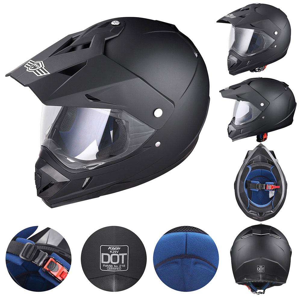 Matte-Black-DOT-Adult-Dual-Visor-Full-Face-Motorcycle-Street-Sport-Helmet-S-XL thumbnail 13