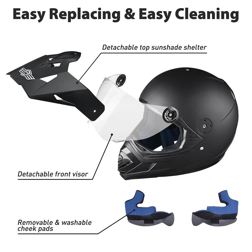 Matte-Black-DOT-Adult-Dual-Visor-Full-Face-Motorcycle-Street-Sport-Helmet-S-XL thumbnail 14