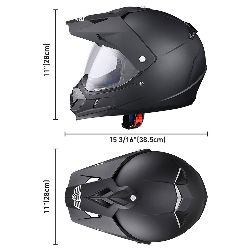 Matte-Black-DOT-Adult-Dual-Visor-Full-Face-Motorcycle-Street-Sport-Helmet-S-XL thumbnail 20
