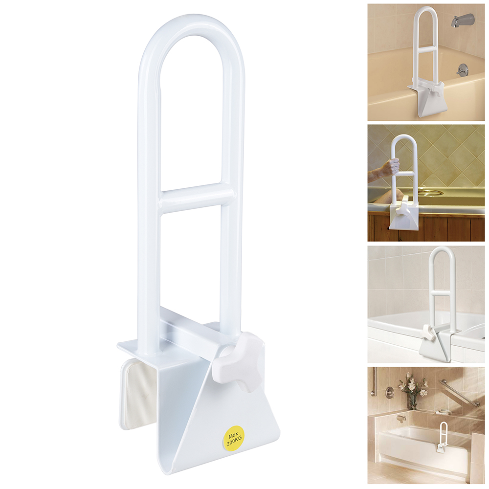 Bathtub Grab Bar Safety Rail Adjustable Locking Clamp On Handle ...