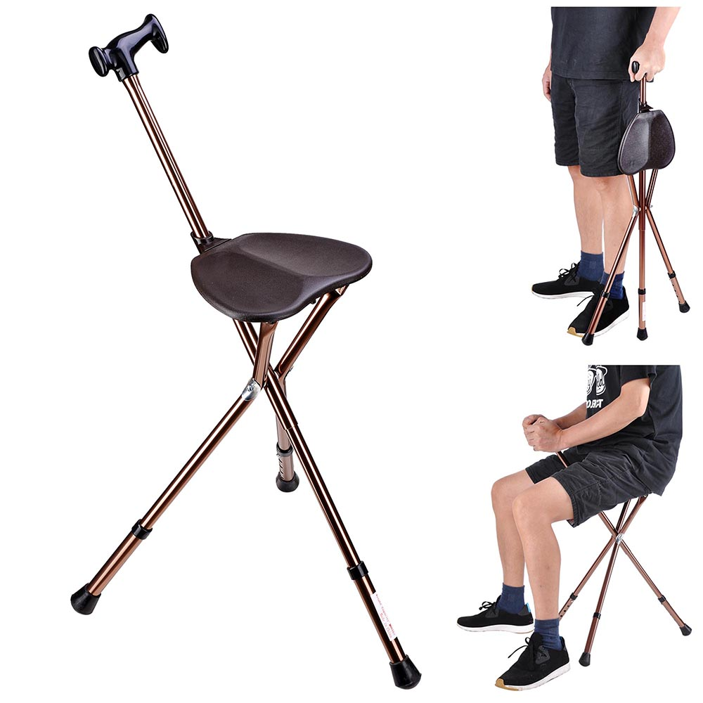Wondrous Details About Folding Walking Stick W Seat Adjustable Height Tripod Travel Cane Hiking Chair Inzonedesignstudio Interior Chair Design Inzonedesignstudiocom