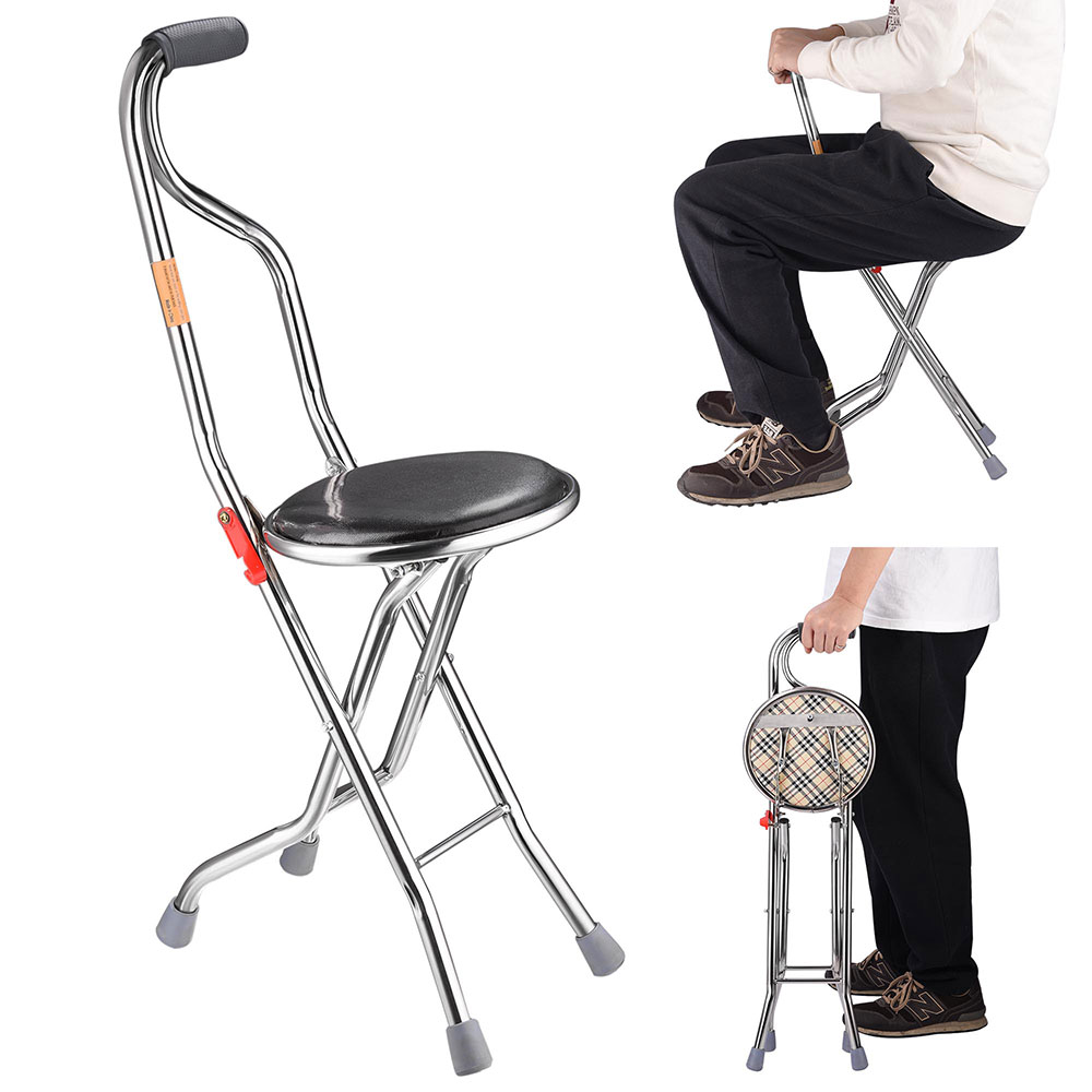 Medical Folding Walking Stick With Seat Portable Travel