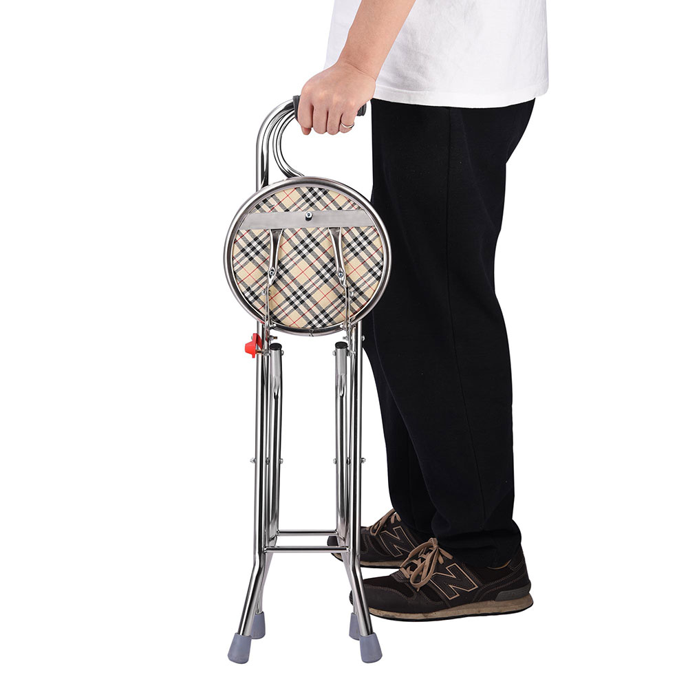 Walking Stick with Seat Folding 2in1 Chair Cane Portable Eld