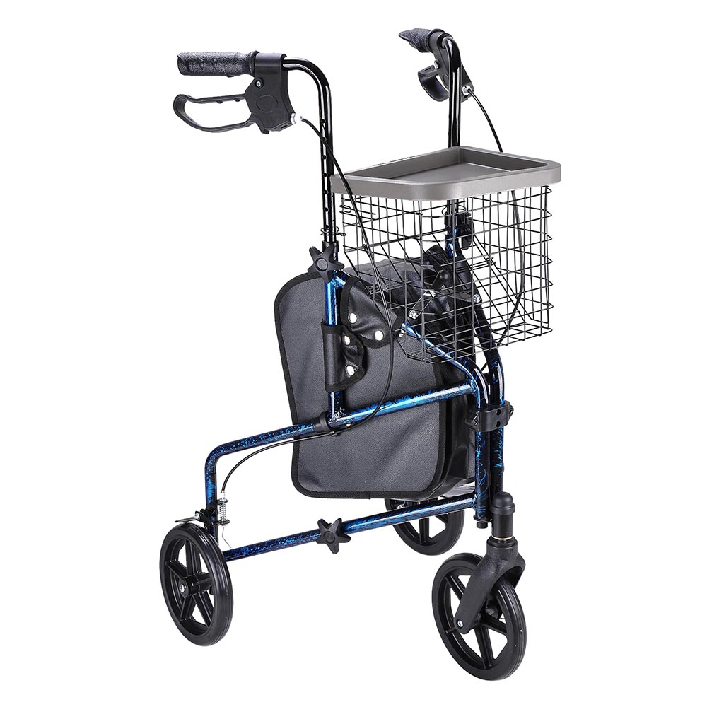 Folding 3 Wheel Rollator Tri Walker Walking Frame Mobility Aid with ...