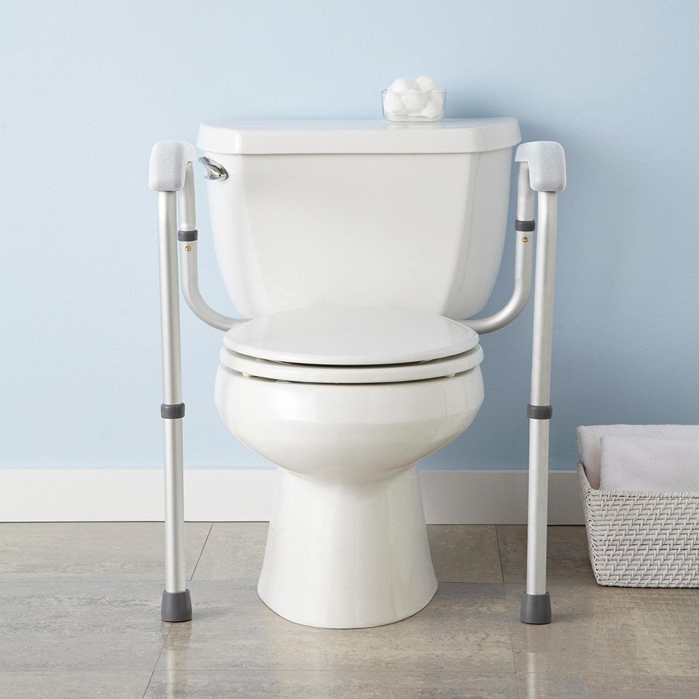 Adjustable Toilet Safety Frame Rail 375lbs Grab Bar Support for ...