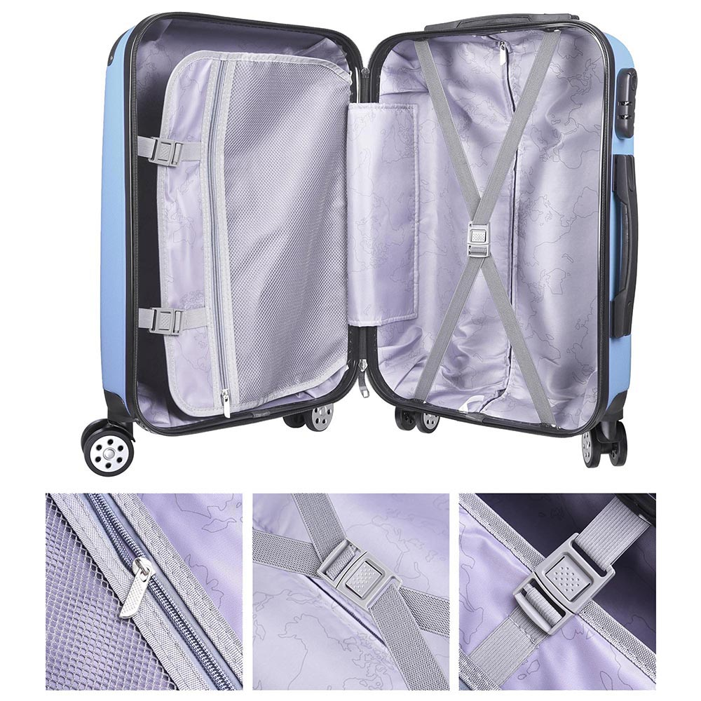 20-034-Carry-On-Travel-Luggage-Bag-Trolley-Fashion-Suitcase-ABS-360-Rolling-Wheel