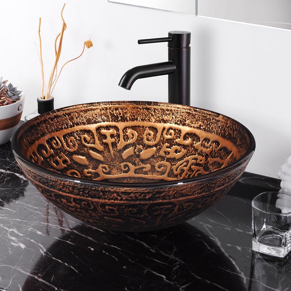 Bathroom Tempered Glass Round Vessel Sink Antique Totem Vanity Hotel