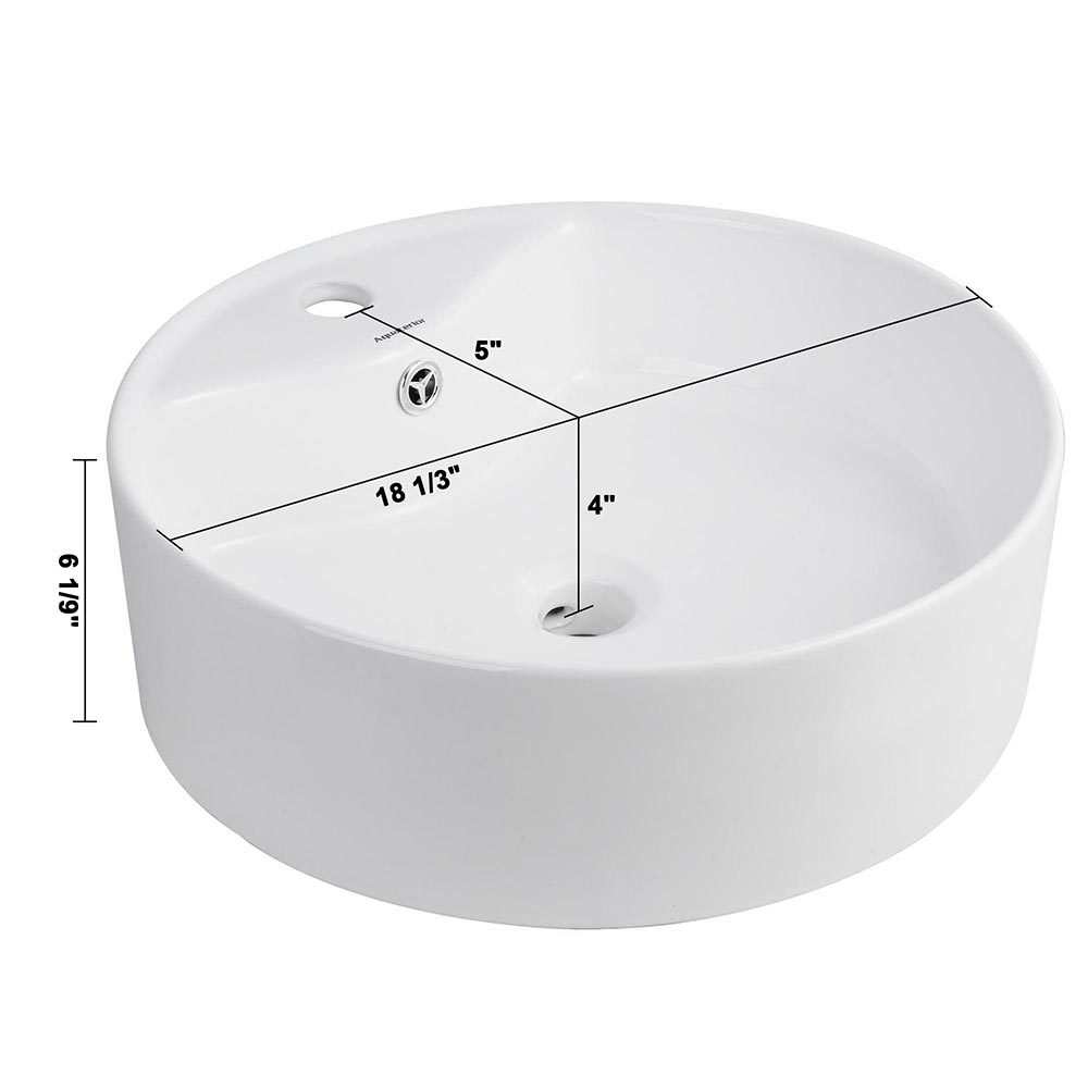 Bathroom-Porcelain-Ceramic-Vessel-Sink-Vanity-Basin-Overflow-Pop-up-Drain-White thumbnail 30
