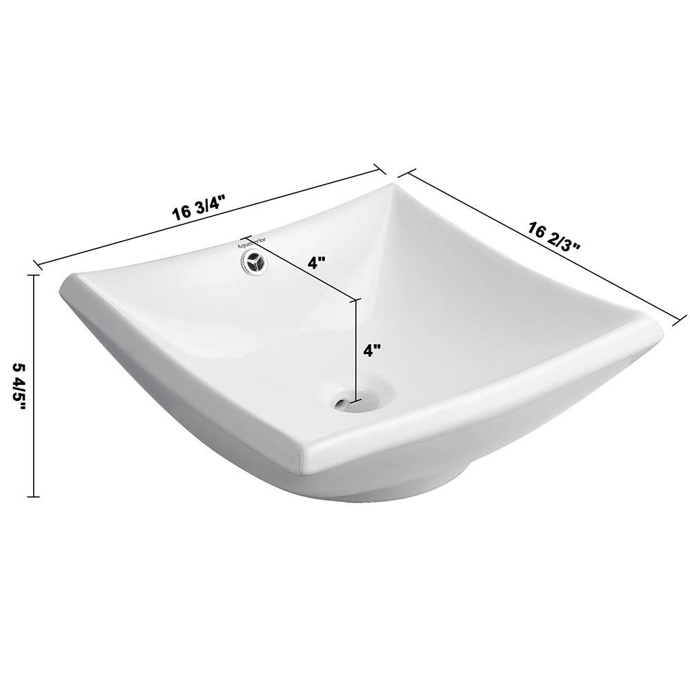 Bathroom-Porcelain-Ceramic-Vessel-Sink-Vanity-Basin-Overflow-Pop-up-Drain-White thumbnail 36